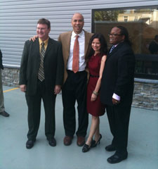 Gerald Hahn, Cory Booker, Maria Coler and Patrick Birotte at the St. Justine Preschool II Ribbon Cutting Ceremony.